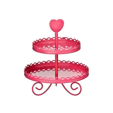 Picture of 2 Tier Hot Pink Cake Stand Enamel Funky Heart Shaped Parties Wedding Decoration
