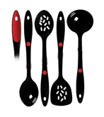 Picture of 4 PIECE KITCHEN COOKING SPOON SET BLACK MELAMINE SLOTTED SPOON TURNER LADLE NEW
