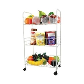 Picture of  3 Tier Chrome Trolley Vegetables Fruits Storage Cart Movable Lightweight New