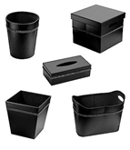 Picture of Waste Bin Storage & Tissue Box Black Leather Effect Diamante Detail Home Office