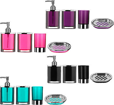 Picture Of Bathroom Set 4pc Pink Plastic Body With Chrome Effect Blue Black Purple New