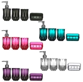 Picture of Cristallo Bathroom Set 4pc Plastic Body Effect Blue Black Purple Pink Clear New
