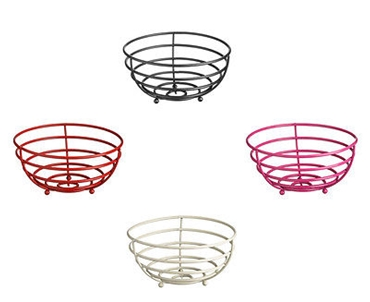 Picture of Helix Fruit Basket Black Red Cream Hot Pink Powder Coated Metal Stylish Basket