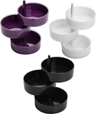 Picture of 3pc Rotary Storage Tray Set Plastic Body In Black White And Purple Office Table