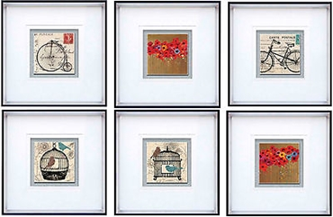 Picture of Framed Wall Art Hanging 6 Different Vintage Designs With Quality White Frame