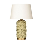 Picture of Feature Lamp Two Tone Green Shell Effect  Cream Shade