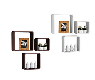 Picture of Wall Cubes Set of 3 Brown and White Decorative Wall Cubes Wall Mounted Brand New