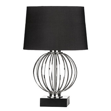 Picture of Table Lamp Spherical Metal Cage Body Nickel Finish Black Base