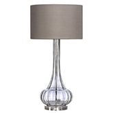 Picture of Table Lamp Grey Ribbed Glass  Clear Base Elegant Design