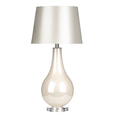 Picture of Table Lamp White Glass Body With Shade Clear Base Elegant Design