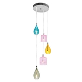 Picture of 5 Pendant Light Ceiling Multi Coloured Glass With Chrome Base Elegant Design