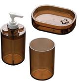 Picture of Bathroom Accessories Tumbler Soap Dish Lotion Dispenser Smoke Brown Plastic
