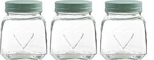 Picture of Storage Jars Glass Tea Coffee Sugar Embossed Heart Design In Two Colors