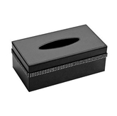 Picture of Black Leather Effect Diamante Detailed Tissue Box