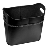 Picture of Black Leather Effect Diamante Detailed Home Storage Box / Basket