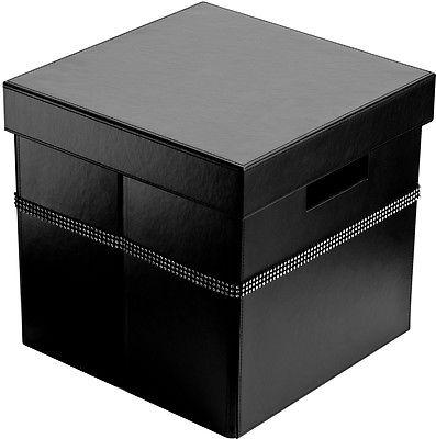 Black Leather Effect Diamante Detailed Square Storage Box