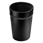 Picture of Black Leather Effect Diamante Detailed Round Waste Bin