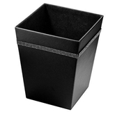 Picture of Black Leather Effect Diamante Detailed Square Waste Bin