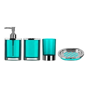 Picture of Bathroom Set 4pc Pink Plastic Body With Chrome Effect Blue Black Purple Pink New