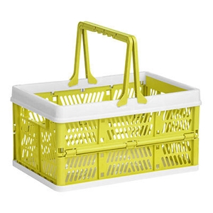Picture of Storage Basket With Handles In Lime Green And Pink For Bathroom And Utility