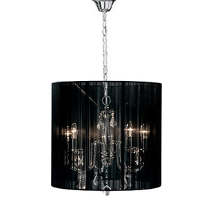 Picture of Calice Chandelier / 5 Arm Silver Metal / Clear Drops/Black Ribbed Shade