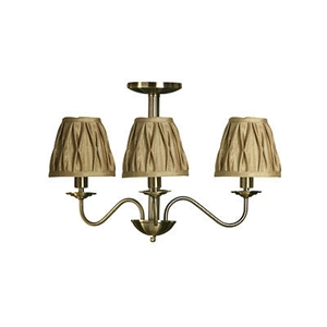 Picture of Ceiling Light 3 Arm Luma Drop Metal Body With Gold Fabric Shades