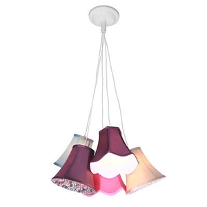 Picture of Pendant Light Tiered  9 And 5 Multi Coloured Shades Ceiling Hanging Lights  (5 Shades)