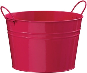 Picture of Bucket Zinc Lightweight in 2 Colours Pink & Black Zinc Handles Home Accessories