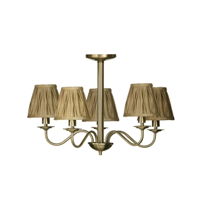 Picture of Ceiling Light 3 And 5 Arm Luma Drop Metal Body With Gold Fabric Shades