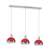 Picture of 3 Pendant Light Red Shade / Chrome