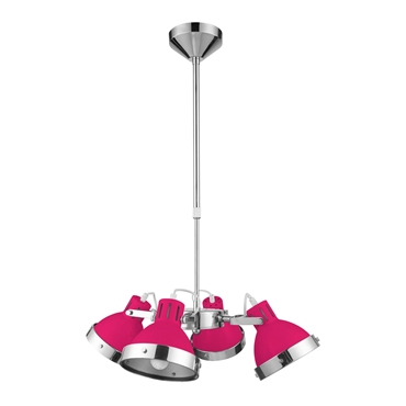 Picture of Hot Pink And Chrome 4 Shade Pendant Light