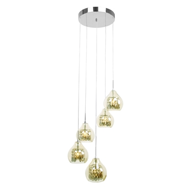 Picture of 5 Light Ceiling Pendant - Smoked Glass / Chrome