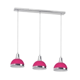 Picture of 3 Pendant Light Hot Pink Shade/Chrome