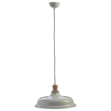 Picture of Oslo Small Pendant Light Iron / Wood White