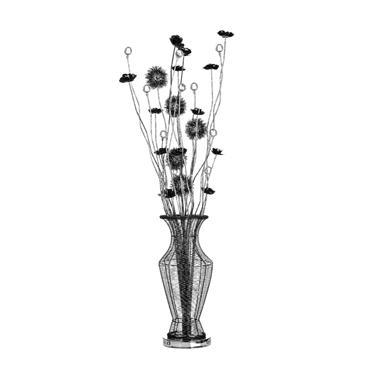 Picture of Flower Lamp Black Aluminium / Crystal Decoration