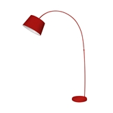 Picture of Arched Floor Lamp Red Metal / Fabric Shade