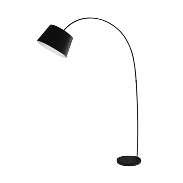 Picture of Arched Floor Lamp Black Metal / Fabric Shade
