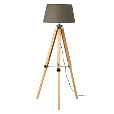 Picture of Tripod Floor Lamp Grey Shade / Light Wood Base