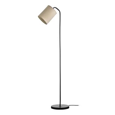 Picture of Tribeca Floor Lamp (UK Plug) Metal Black Base Flax Fabric Shade
