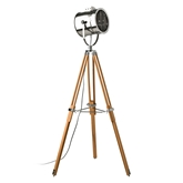 Picture of Tribeca Tripod Floor Lamp (UK Plug) Natural Wood / Stainless Steel Shade
