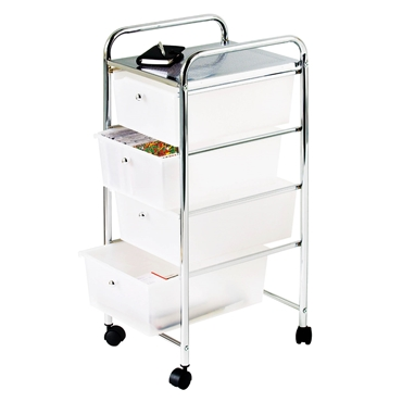 Picture of Trolley with 4 White Plastic Drawers