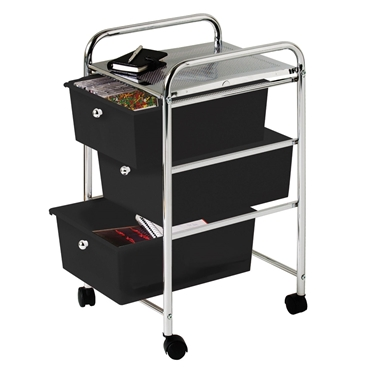 Picture of Trolley with 3 Black Plastic Drawers