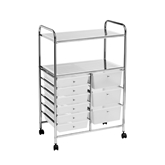Picture of Trolley with 2 Shelf/9 White Plastic Drawers