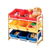 Picture of Storage Unit 3 Tier Pine Frame 9 Plastic Tubs