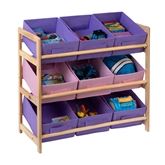 Picture of Storage Unit 3 Tier Pine Frame 9 Canvas Tubs