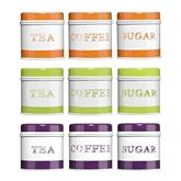 Picture of Orange, Green or Purple  Tea, Coffee And Sugar Set