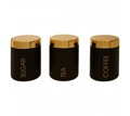 Picture of Liberty Set Of 3 Black / Gold Canisters